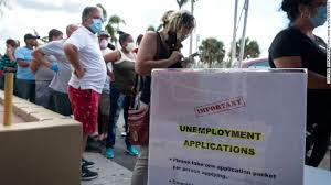 People lined up to apply for unemployment